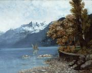 Lake Framed Prints - Lake Leman Framed Print by Gustave Courbet