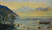 Boats In The Harbor Prints - Lake Leman with the Dents du Midi in the Distance Print by John William Inchbold