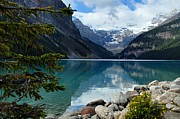 Mountains Photo Framed Prints - Lake Louise 2 Framed Print by Larry Ricker