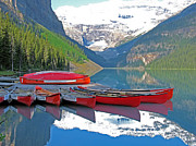 Canoes Originals - Lake Louise Canoes by Gerry Bates