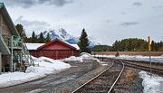 Railroad Stations Prints - Lake Louise Depot Print by Guy Whiteley
