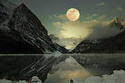 Winter Night Posters - Lake Louise Moon Glow Poster by Andrea Hazel Ihlefeld