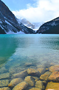 Canada Art Photo Acrylic Prints - Lake Louise Shore Acrylic Print by Andrea Hazel Ihlefeld