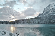 Rocky Mountains Greeting Cards Prints - Lake Louise Sunrise Print by Andrea Hazel Ihlefeld