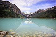 Chateau Acrylic Prints - Lake Louise Tranquility Acrylic Print by George Oze