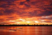 Red Pyrography Metal Prints - Lake Loveland Sunrise Metal Print by Billie Colson
