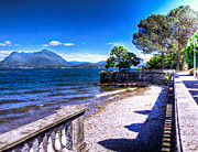 Beachfront Posters - Lake Maggiore Beachfront Poster by Jon Berghoff