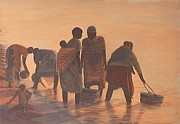 Poor People Metal Prints - Lake Malawi Women at Sunrise Metal Print by Nisty Wizy