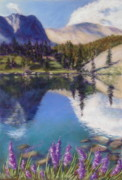 Mountains Pastels Prints - Lake Marie Print by Zanobia Shalks