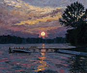 Pallet Knife Painting Prints - Lake Martin Sunset Print by Tyler Smith