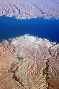 Photography Abstracts Framed Prints - Lake Mead Nevada Aerial Framed Print by James Bo Insogna