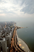 Aerial View Posters - Lake Michigan And Chicago Skyline. Poster by Ixefra