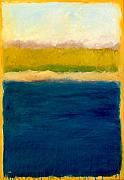 Sand Dunes Paintings - Lake Michigan Beach Abstracted by Michelle Calkins