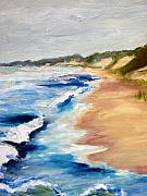 Sand Dunes Paintings - Lake Michigan Beach with Whitecaps Detail by Michelle Calkins