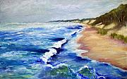 Shoreline Paintings - Lake Michigan Beach with Whitecaps by Michelle Calkins
