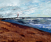 Lake Michigan Painting Originals - Lake Michigan Beauty by Angela Pari  Dominic Chumroo