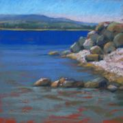 Line Pastels Originals - Lake Michigan Boulders by Jill Stefani Wagner