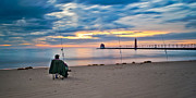 Grand Haven Prints - Lake Michigan Fishing Print by Larry Carr