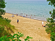 Indiana Dunes Prints - Lake Michigan shore in Indiana Dunes National Lakeshore Print by Ruth Hager