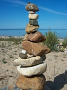 Lake Michigan Stone Pyramid Print by Johnny Yen