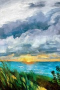 Dramatic Digital Art - Lake Michigan Sunset by Michelle Calkins