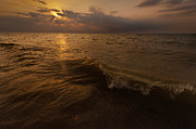 Great Lake Posters - Lake Michigan Sunset Poster by Steve Gadomski