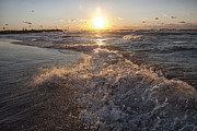 Michigan Photos - Lake Michigan Sunset with Waves by Purcell Pictures