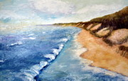 Sand Dunes Paintings - Lake Michigan with Whitecaps ll by Michelle Calkins