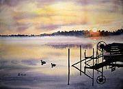 Ducks Paintings - Lake Mist by Shirley Braithwaite Hunt