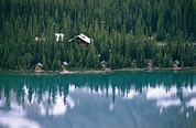 Log Cabins Photo Posters - Lake Ohara Lodge And Cabins Poster by Michael Melford