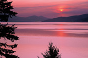 Lake Pend Oreille Posters - Lake Pend Oreille Sunset Reflection Poster by Leland Howard