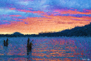 Impressionism Photos - Lake Quinault Sunset - Impressionism by Heidi Smith