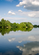 Clouds Photographs Posters - LAKE REFLECTION dinton pastures lakes and nature reserve reading berkshire uk Poster by Andy Smy