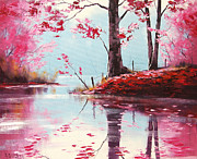 Autumn Landscape Paintings - Lake Reflections by Graham Gercken