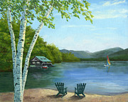 Birch Lake Prints - Lake Saranac Boat House Print by Elaine Farmer