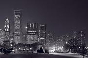 Highway Posters - Lake Shore Drive Chicago B and W Poster by Steve Gadomski