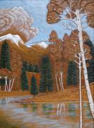 Park Landscape Mixed Media Originals - Lake Side by Larry Bruhn