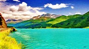 Switzerland Digital Art - Lake Sils by Jeff Kolker