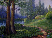 Charles Bridge Paintings - Lake Steilacoom by Charles Munn