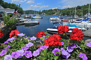 New Hampshire Lakes Framed Prints - Lake Sunapee Harbor and Flowers Framed Print by John Burk