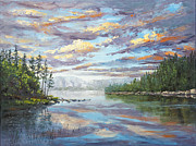 Barrette Painting Originals - Lake Sunset by Elaine Farmer