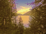 Montana Digital Art - Lake Sunset by Lisa McKinney