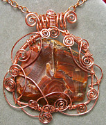 Lake Jewelry - Lake Superior Agate and Copper Curly-Q Pendant by Heather Jordan