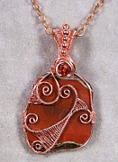 Lake Jewelry - Lake Superior Agate and Copper Woven Pendant by Heather Jordan