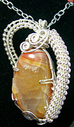 Lake Jewelry - Lake Superior Agate and Silver Pendant by Heather Jordan