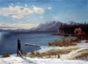 Mountain Snow Landscape Paintings - Lake Tahoe by Albert Bierstadt