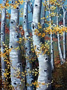 Fall Color Painting Posters - Lake Tahoe Aspens Poster by Cynara Shelton