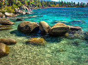 Lake Photography Framed Prints - Lake Tahoe Beach and Granite Boulders Framed Print by Scott McGuire