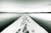 Dock Prints Posters - Lake Tahoe Footprints in the Snow  Poster by Dustin K Ryan