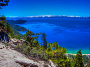 Lake Tahoe Framed Prints - Lake Tahoe from Flume Trail over Sand Harbor State Park Framed Print by Scott McGuire